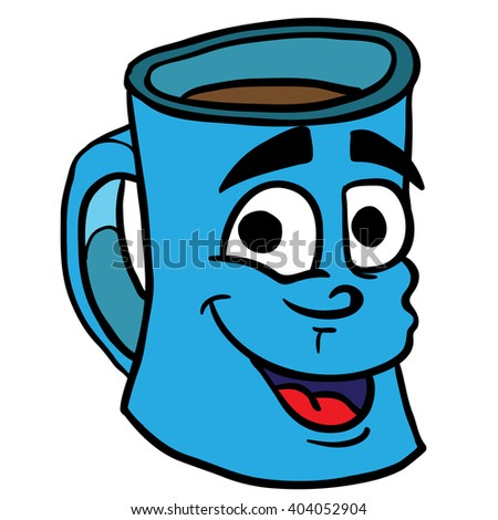smiling coffee cup cartoon - stock photo