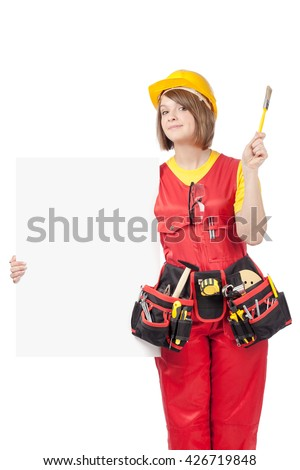 smiling construction female worker holding blank board with empty copy space for you text isolated on white background. advertisement banner. your text here - stock photo