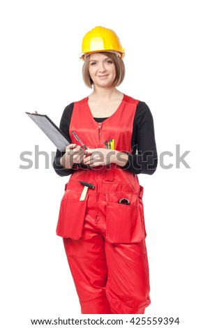 smiling construction female worker holding clipboard isolated on white background - stock photo