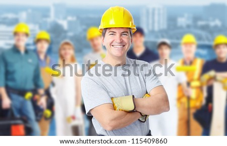 Smiling Construction worker man. Architecture background. - stock photo