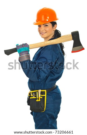 Smiling constructor worker woman holding axe  isolated on white background
