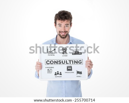 smiling consultant showing his advices to his customers - stock photo