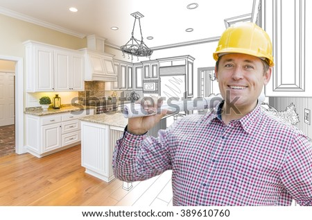 Smiling Contractor in Hard Hat with Roll of Plans Over Custom Kitchen Drawing and Photo Combination. - stock photo