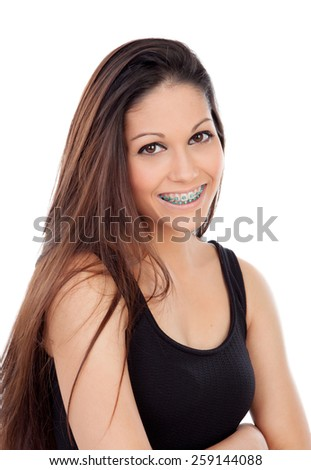 Smiling cool girl with brackets isolated on a white background - stock photo