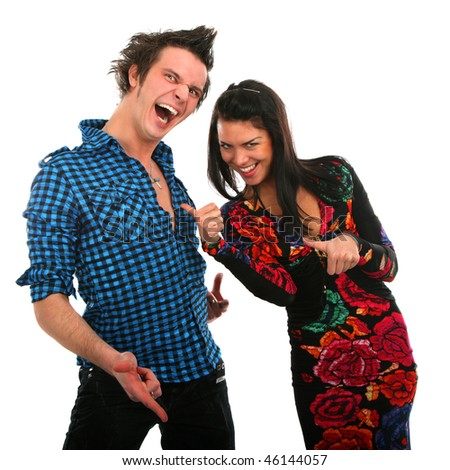 smiling couple gesture on isolated  background