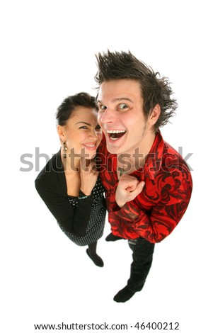 smiling couple  on isolated  background