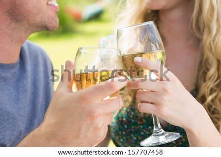 Smiling couple toasting with white wine outside on sunny day - stock photo