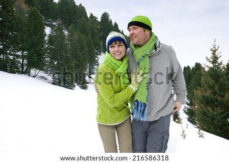 Smiling couple walking in snowy woods together - stock photo