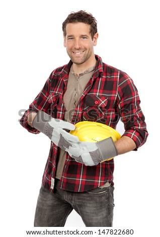 Smiling craftsman isolated on white background - stock photo