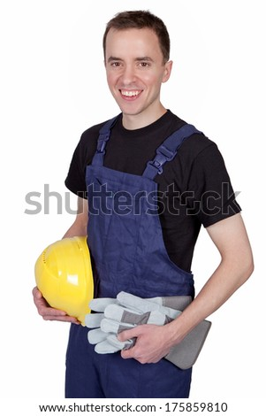 Smiling craftsman isolated on white background
