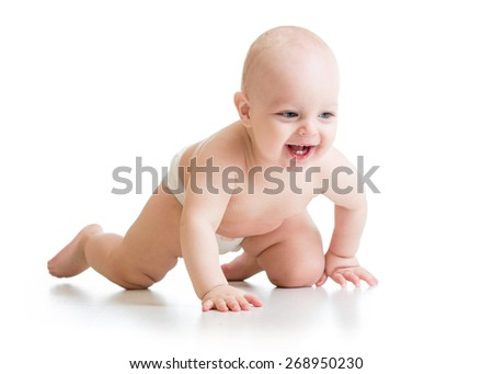 smiling crawling baby boy isolated on white background - stock photo
