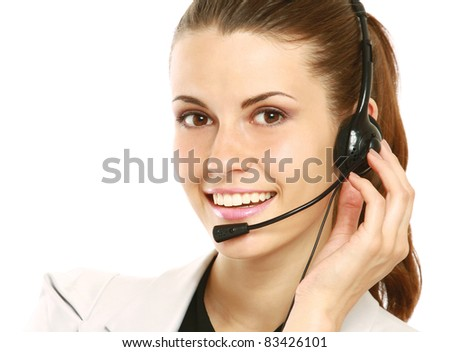 Smiling Customer Representative with headset over white background