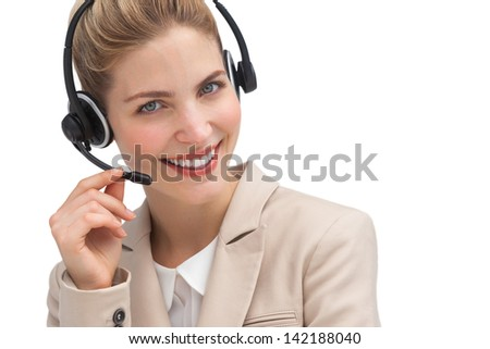 Smiling customer service operator with headset - stock photo