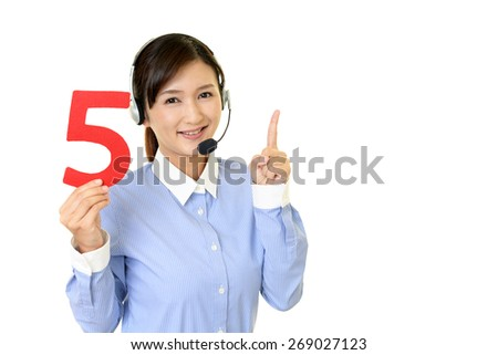 Smiling customer services operator