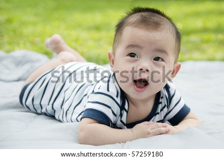 smiling cute baby - stock photo
