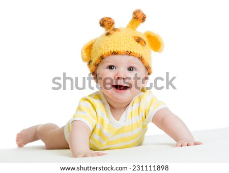 smiling cute baby boy infant in funny hat - stock photo