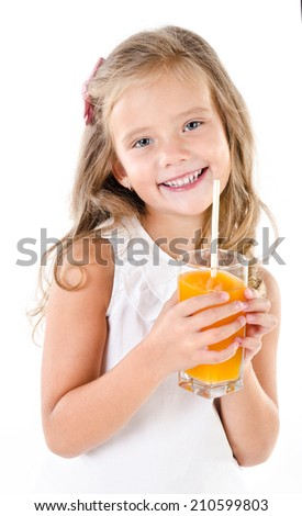 Smiling cute little girl with glass of juice isolated on a white background