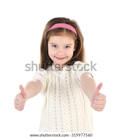 Smiling cute little girl with two finger up isolated on a white - stock photo