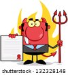 Smiling Devil Boss With A Trident Holds Up A Contract  In Front Of Flames. Raster Illustration.Vector Version Also Available In Portfolio. - stock photo