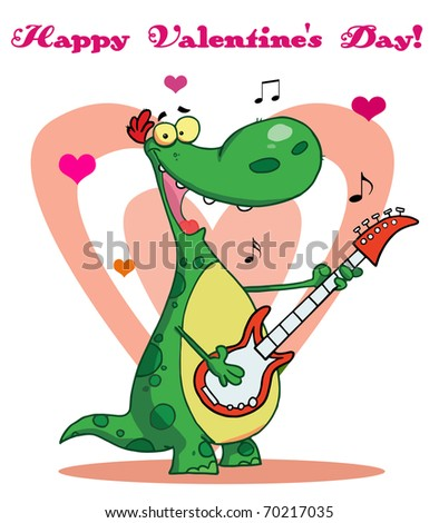 Smiling dinosaur plays guitar with heart background - stock photo