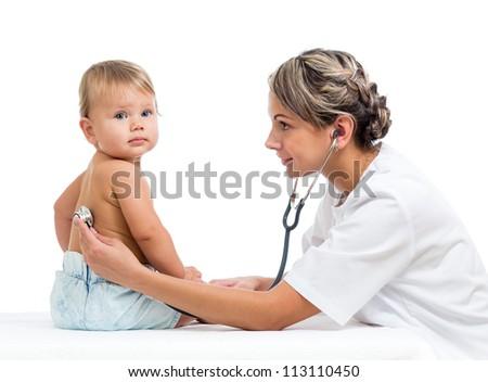 smiling doctor examining baby isolated on white background - stock photo