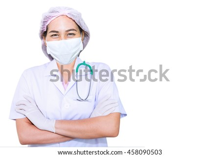 Smiling doctor in white mask, pink cap and green stethoscope Isolated on white background.Physician ready to receive patient and help. Medical concept.