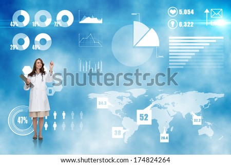 Smiling doctor pointing against futuristic technology interface - stock photo