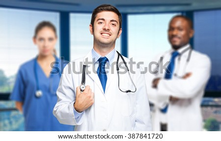 Smiling doctors group - stock photo