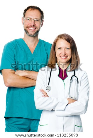 smiling doctors isolated on white - stock photo