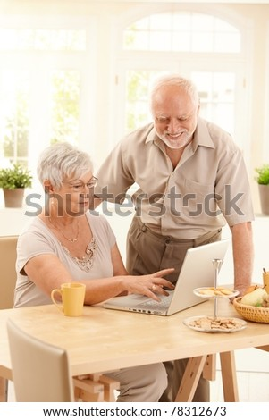 Smiling elderly couple using laptop computer in dining room, smiling, wife pointing at screen.? - stock photo