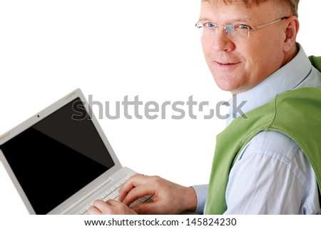 Smiling elderly senior man with laptop - stock photo