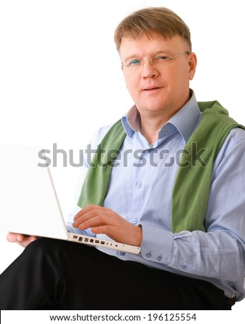 Smiling elderly senior man with laptop - stock photo