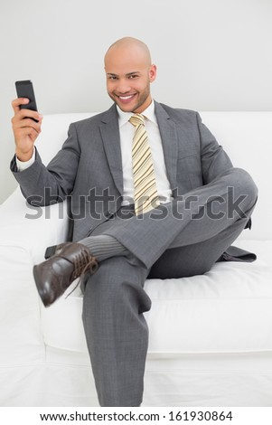 Smiling elegant young businessman text messaging on sofa at home