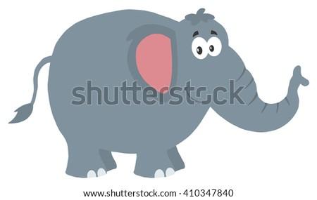 Smiling Elephant Cartoon Character. Raster Illustration Flat Design Style Isolated On White - stock photo