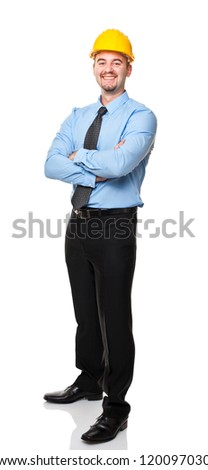 smiling engineer crossed arms isolated on white background