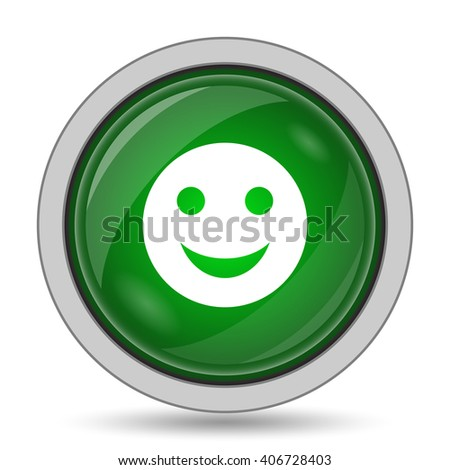 smiling face icon. Internet button on white background.