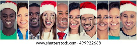 Smiling faces. Happy multi ethnic group of people some in Christmas Santa hat. Positive human emotion face expression