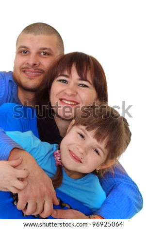 Smiling family in the blue t-shirts on a white background