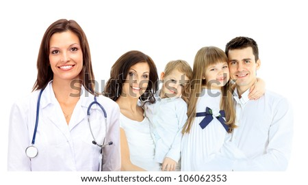Smiling family medical doctor and young family