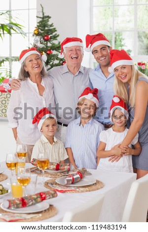 Smiling family posing for photograph at christmas - stock photo