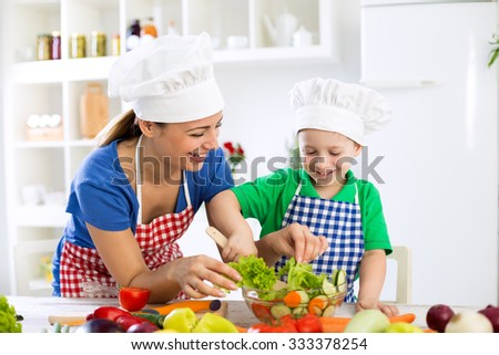 Smiling family preparing healthy food for meal