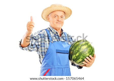Smiling farmer holding a watermelon and giving thumb up isolated on white background - stock photo