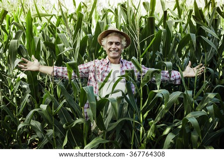 Smiling farmer posing with open arms in the corn field, agriculture and success concept - stock photo
