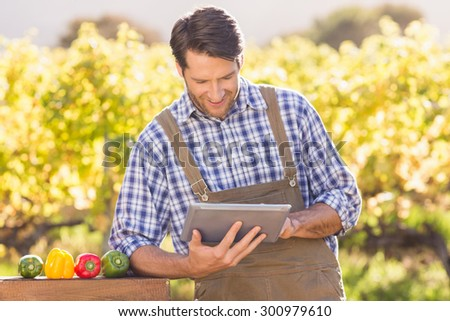 Smiling farmer using a digital tablet in the countryside - stock photo
