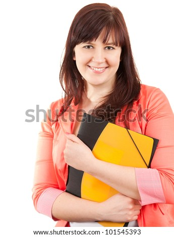 smiling fat student woman with book, white background