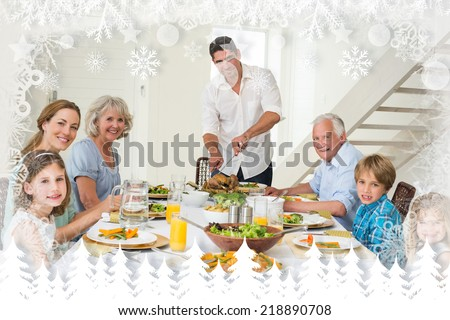 Smiling father serving meal to family against fir tree forest and snowflakes - stock photo