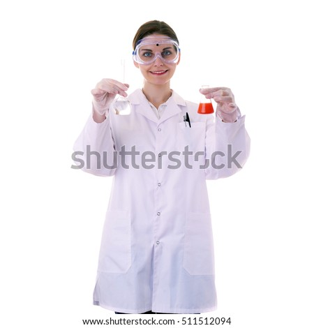 Smiling female assistant scientist in white coat and plastic protective glasses over white isolated background inspecting flask filled with substance, healthcare, profession, science and concept