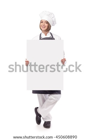 smiling female chef, cook or baker holding blank board with empty copy space for you text isolated on white background. advertisement banner. your text here - stock photo