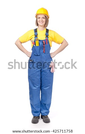 smiling female construction worker or decorator in yellow hardhat and workwear looking up isolated on white background