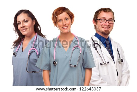 Smiling Female Doctor or Nurse Isolated on a White Background.